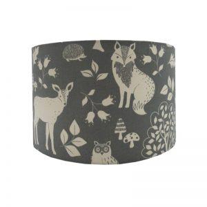 Grey Woodland Animals Drum Lampshade