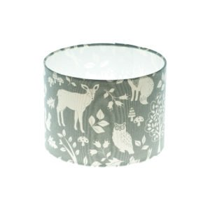 Grey Woodland Animals Drum Lampshade