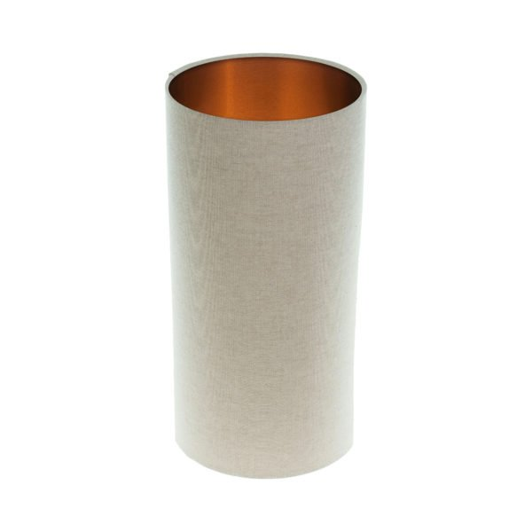 Light Beige Tall Drum Lampshade Brushed Copper Inner