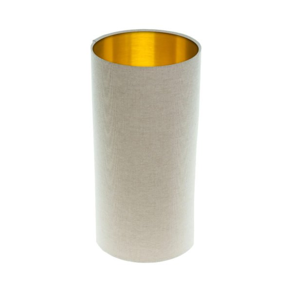 Light Beige Tall Drum Lampshade Brushed Gold Inner