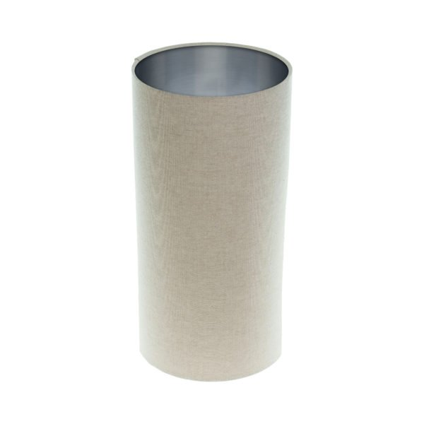 Light Beige Tall Drum Lampshade Brushed Silver Inner