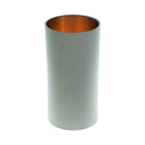 Light Grey Tall Drum Lampshade Brushed Copper Inner