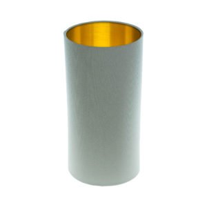 Light Grey Tall Drum Lampshade Brushed Gold Inner