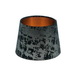 Mercury Black Velvet French Drum Lampshade Brushed Copper Inner