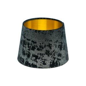 Mercury Black Velvet French Drum Lampshade Brushed Gold Inner