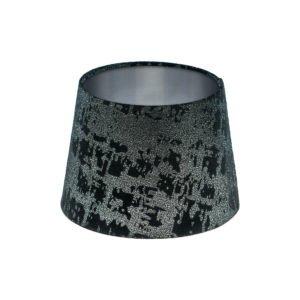 Mercury Black Velvet French Drum Lampshade Brushed Silver Inner