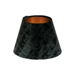Mercury Black Velvet Empire Lampshade Brushed Copper Inner