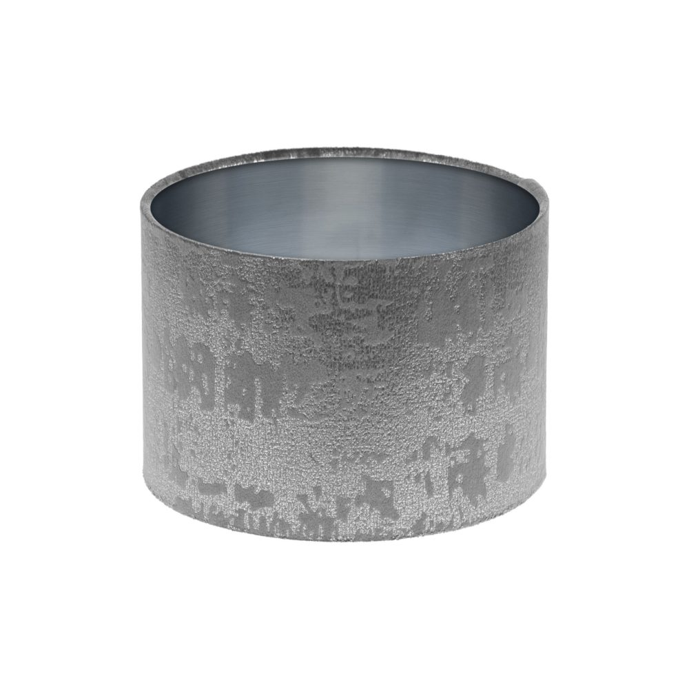 Mercury Dove Grey Velvet Drum Lampshade Brushed Silver Inner