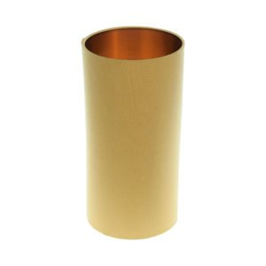 Mustard Yellow Tall Drum Lampshade Brushed Copper Inner