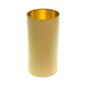 Mustard Yellow Tall Drum Lampshade Brushed Gold Inner