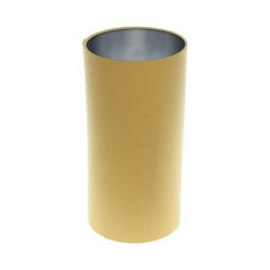 Mustard Yellow Tall Drum Lampshade Brushed Silver Inner