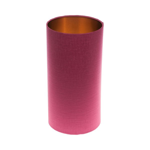 Pink Satin Tall Drum Lampshade Brushed Copper Inner