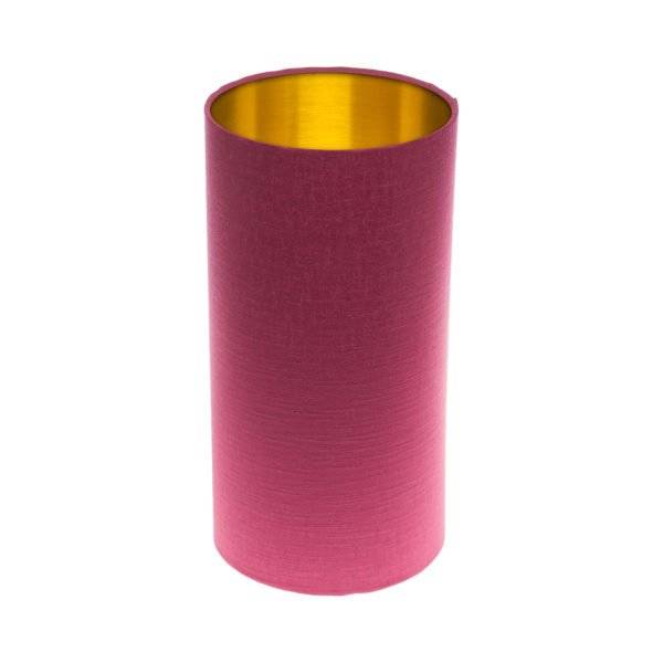 Pink Satin Tall Drum Lampshade Brushed Gold Inner