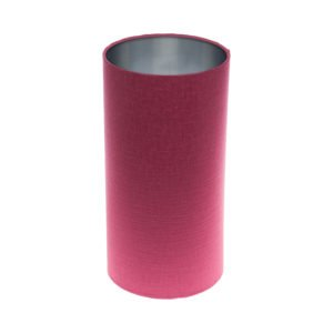 Pink Satin Tall Drum Lampshade Brushed Silver Inner