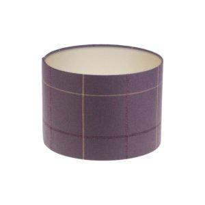 Winsford Lavender Tartan Drum Lampshade Champagne Inner