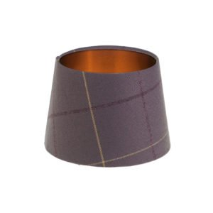 Winsford lavender Tartan French Drum Lampshade Brushed Copper Inner