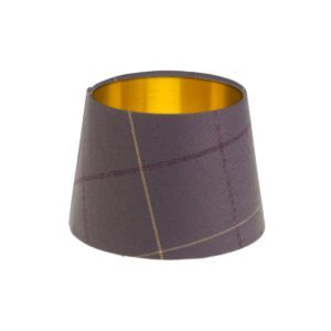 Winsford lavender Tartan French Drum Lampshade Brushed Gold Inner