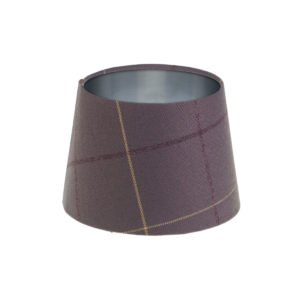 Winsford lavender Tartan French Drum Lampshade Brushed Silver Inner