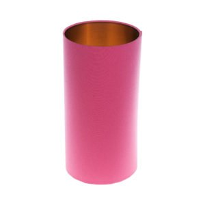 Sorbet Bright Pink Tall Drum Lampshade Brushed Copper Inner