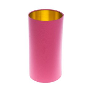 Sorbet Bright Pink Tall Drum Lampshade Brushed Gold Inner
