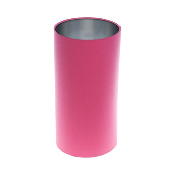 Sorbet Bright Pink Tall Drum Lampshade Brushed Silver Inner