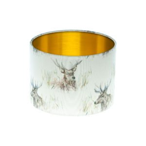 Voyage Wallace Stag Drum Lampshade Brushed Gold Inner