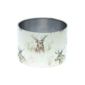 Voyage Wallace Stag Drum Lampshade Brushed Silver Inner