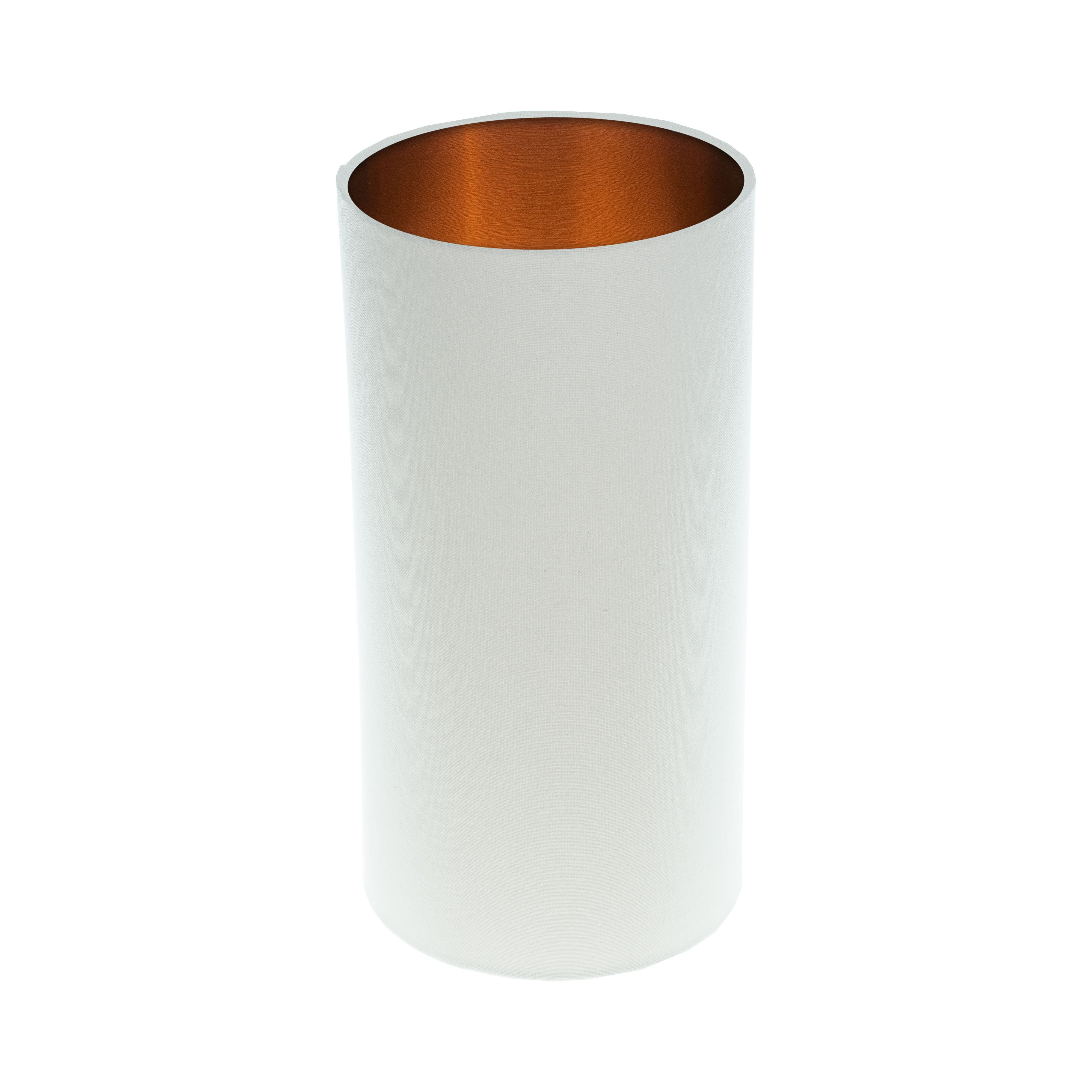 White Tall Drum Lampshade Brushed Copper Inner
