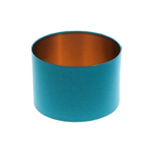 Aqua Blue Drum Lampshade Brushed Copper Inner