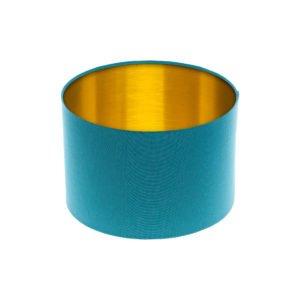 Aqua Blue Drum Lampshade Brushed Gold Inner