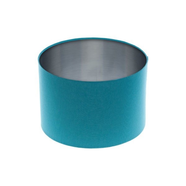 Aqua Blue Drum Lampshade Brushed Silver Inner
