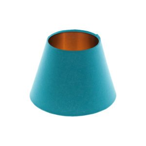 Aqua Blue Empire Lampshade Brushed Copper Inner