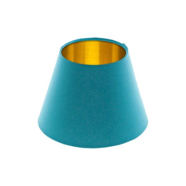Aqua Blue Empire Lampshade Brushed Gold Inner