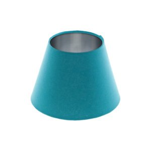 Aqua Blue Empire Lampshade Brushed Silver Inner
