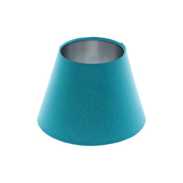 Aqua Blue Empire Lampshade Brushed Silver Inner