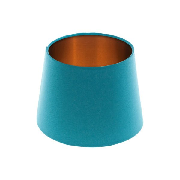 Aqua Blue French Drum Lampshade Brushed Copper Inner