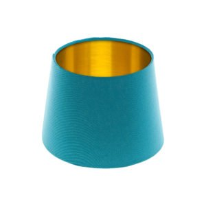 Aqua Blue French Drum Lampshade Brushed Gold Inner
