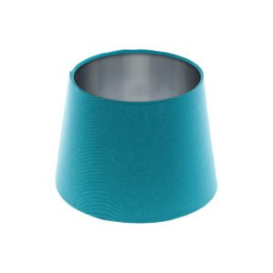 Aqua Blue French Drum Lampshade Brushed Silver Inner