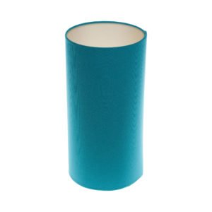 Aqua Blue Tall Drum Lampshade Champagne Inner