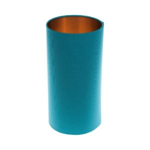 Aqua Blue Tall Drum Lampshade Brushed Copper Inner