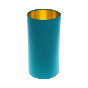 Aqua Blue Tall Drum Lampshade Brushed Gold Inner