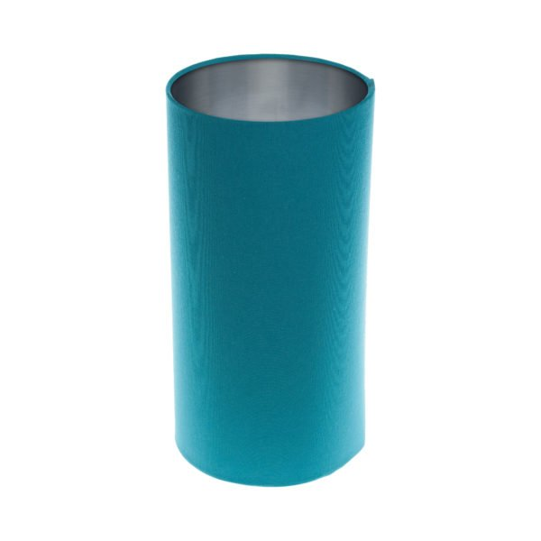 Aqua Blue Tall Drum Lampshade Brushed Silver Inner