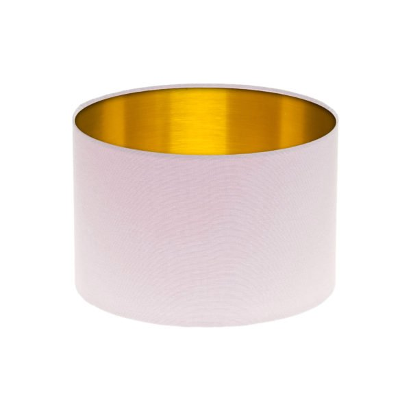 Baby Pink Drum Lampshade Brushed Gold Inner