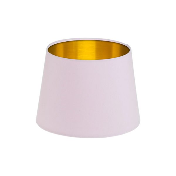 Baby Pink French Drum Lampshade Brushed Gold Inner