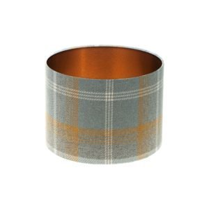 Balmoral Amber Tartan Drum Lampshade Brushed Copper Inner