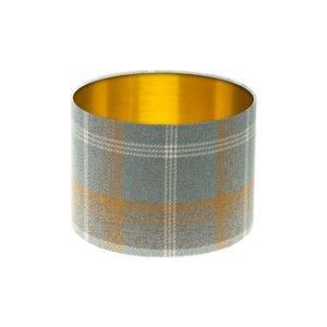 Balmoral Amber Tartan Drum Lampshade Brushed Gold Inner