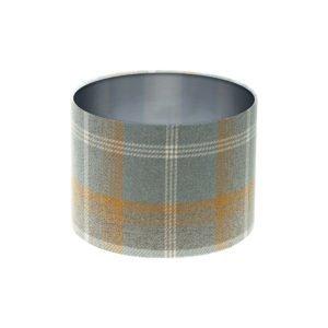 Balmoral Amber Tartan Drum Lampshade Brushed Silver Inner