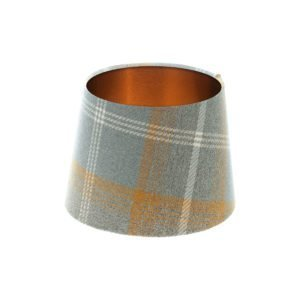 Balmoral Amber Tartan French Drum Lampshade Brushed Copper Inner
