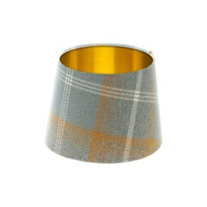 Balmoral Amber Tartan French Drum Lampshade Brushed Gold Inner
