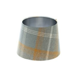 Balmoral Amber Tartan French Drum Lampshade Brushed Silver Inner